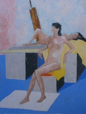 John Sims: 'life room', 2012 Oil Pastel, nudes. Two nudes in the life room. Oil pastel on paper...