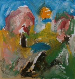 John Sims: 'may painting', 2018 Oil Painting, Abstract Landscape. Artist Description: After walking in the countryside here in Kent, late May, getting hot. Small oil on paper...