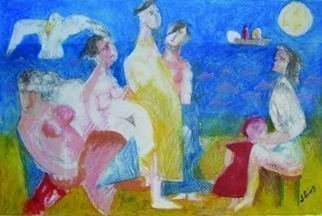 John Sims: 'meeting with poussin', 2011 Mixed Media, Figurative. Drawn with colour pencil and oil pastel on paper after looking at paintings by Poussin and De Kooning. An imaginary meeting on a beach in Cyprus...