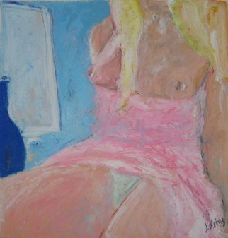 John Sims: 'the pink dress', 2011 Oil Pastel, Figurative. Blonde girl in a room. Oil pastel on paper from life...