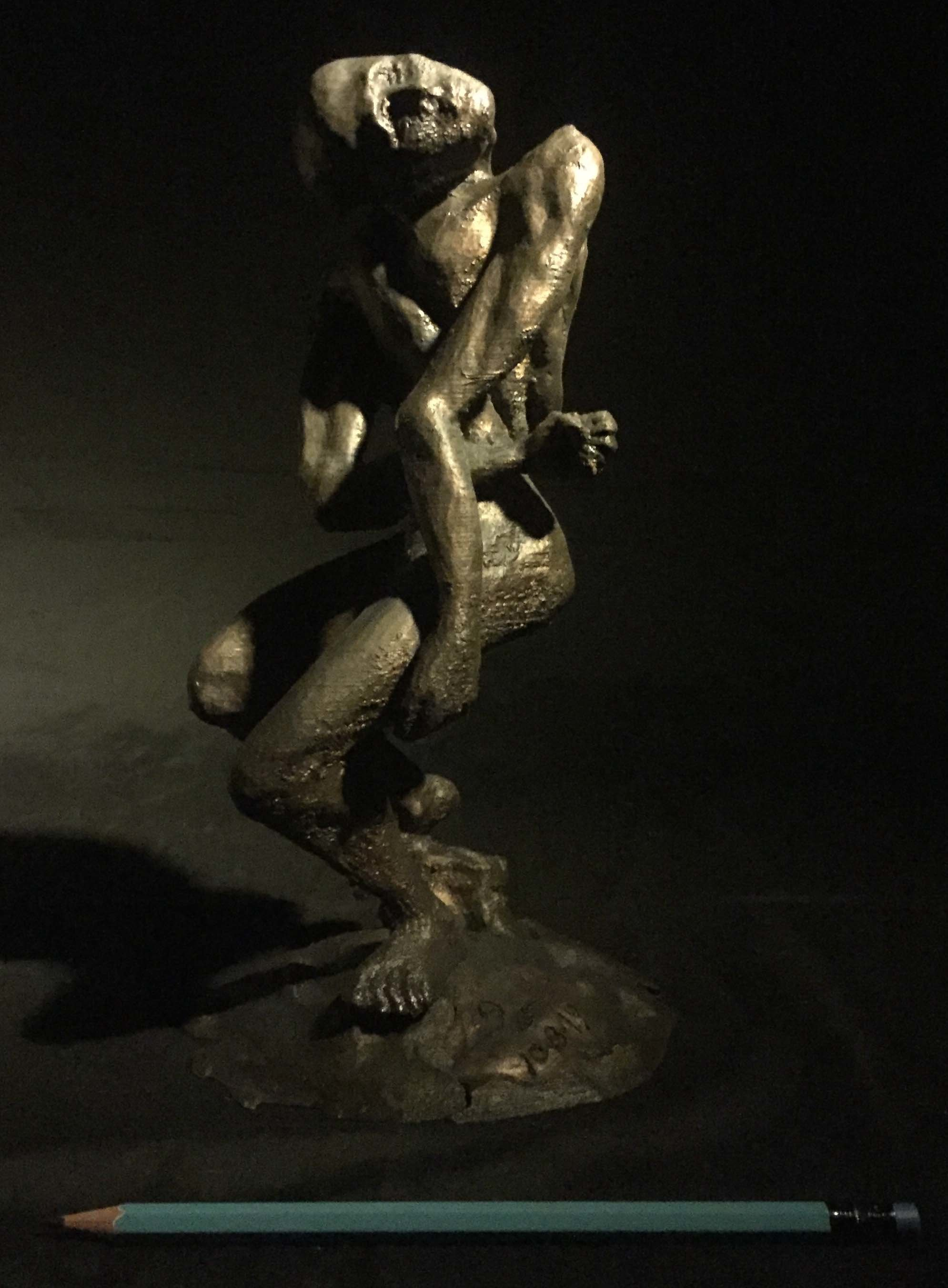 James Johnson: 'EMPATH 2nd Edition', 2019 Mixed Media Sculpture, Nudes. The burden of entering a room and knowing others thoughts and feelings.  Signed and dated, Edition of 150.  First, I created an armature from PLA, then used bronze metal epoxy to define the form, and finished with bronze filled acrylic.  The patina is created from liver- of- sulfur. ...