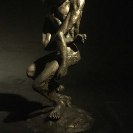 James Johnson: 'EMPATH 2nd Edition', 2019 Mixed Media Sculpture, Nudes. Artist Description: The burden of entering a room and knowing others thoughts and feelings.  Signed and dated, Edition of 150.  First, I created an armature from PLA, then used bronze metal epoxy to define the form, and finished with bronze filled acrylic.  The patina is created from liver- of- sulfur. ...