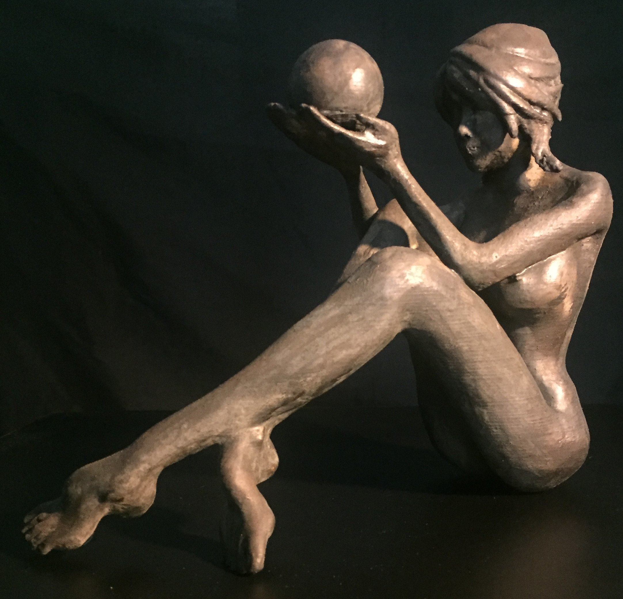 James Johnson: 'INTUITION 2nd edition', 2019 Bronze Sculpture, Nudes. Free shipping within the continental USA.  Understanding the present and knowing the future happens everyday.  She was created using a cold cast method where bronze powder is incorporated into another media.  The patina is created using liver of sulfur.  Limited edition of 150 with an artistaEURtms mark, date, and ...
