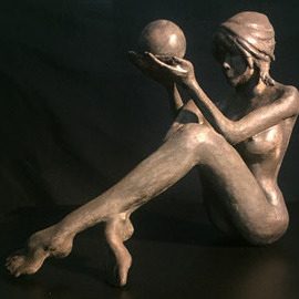 James Johnson: 'INTUITION 2nd edition', 2019 Bronze Sculpture, Nudes. Artist Description: Free shipping within the continental USA.  Understanding the present and knowing the future happens everyday.  She was created using a cold cast method where bronze powder is incorporated into another media.  The patina is created using liver of sulfur.  Limited edition of 150 with an artistaEURtms mark, ...