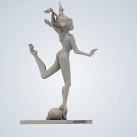 James Johnson: ' IRIS', 2019 Steel Sculpture, Nudes. Artist Description:  A moment to fight or of flight, sure and brave either way.  The work is composed of 60 stainless steel and 40 bronze with a light brown color and a granular surface.  These are high resolution renderings of a limited edition of 20 with an artistaEURtms signature, ...