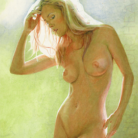 John Heath: 'Sophia', 2008 Acrylic Painting, Nudes. Artist Description:  An original painting also available as a giclee print in a limited edition of 95. The watermark is not on the original painting or prints. ...