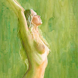 John Heath Artwork Titania, 2008 Acrylic Painting, Nudes
