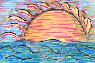 Joe Mccullagh: 'Blue Sunset', 2014 Pastel, Abstract. Artist Description:  A sunset drawing of a seaside sunset on Long Island.    ...