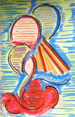 Joe Mccullagh: 'Grinning Balloons', 2014 Pastel, Abstract. Artist Description:  Picture the party balloons ginning at you.  Here they do !      ...
