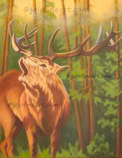 Joanne Witalec  'Elk In The Forest', created in 2016, Original Mixed Media.