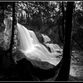 Joe Kerr: 'Goose Berry Falls', 2009 Black and White Photograph, Landscape. Artist Description: Goose Berry Falls at dawn is a very special place. Located on the southwestern basin of Lake Ontario in Northern Minnesota, USA. This is a limited edition print on a mat paper that renders a smooth feel to this special image.  ...