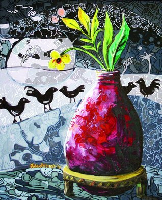 Artist: Jolade Adebayo - Title: Cocks crow at dawn - Medium: Acrylic Painting - Year: 2011