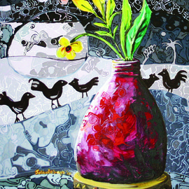 Jolade Adebayo Artwork Cocks crow at dawn, 2011 Acrylic Painting, Ethnic