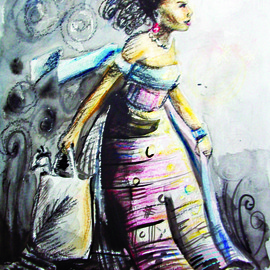 Jolade Adebayo Artwork Elegance carries a bag, 2011 Other Drawing, Ethnic