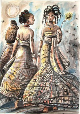 Jolade Adebayo: 'Polite Diplomacy', 2010 Other Drawing, Ethnic.   I have seen this happen over and over. It is suppressed envy or competition between women. Sometimes we are all just as guilty. The figures are Yoruba wearing heavily decorated fabric and with lots of texture. The media are ink, pastel and watercolour.   ...