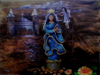 Jo Mari Montesa Artwork Salubong, 2006 Oil Painting, Religious