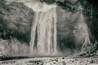 Jonathan Talks: 'skogafoss', 2017 Black and White Photograph, Landscape. Artist Description: Photography: Black   White and Digital on Paper.SkA3gafossKodak Metallic Print | 36  x 26 SkA3gafoss  pronounced  E^skou. aEOEfE