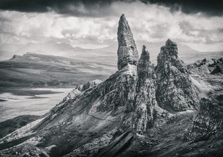 Jonathan O'hora: 'the old man of storr', 2014 Black and White Photograph, Landscape. Artist Description: The Old Man of Storr, Isle of Skye46  x 32  Lightjet print of Ilford B   W paperORIGINAL PRINT - Limited Edition of 20 Crafted Prints  LightJet print on Kodak Metallic: Original photo print with metallic gloss The Storr  Scottish Gaelic: An StA2r  is a rocky hill ...