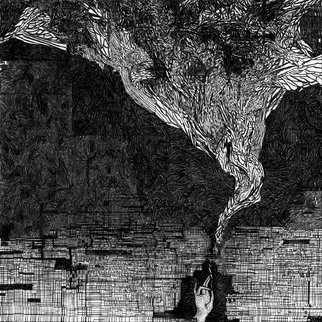 Evgeny Korelin: 'ancient flow', 2015 Ink Drawing, Biblical. Artist Description: Its about faith ancient energy of life in the our dark world. ...