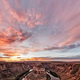 Jon Glaser: '180 degrees of sunset', 2016 Color Photograph, Landscape. Artist Description: Horseshoe Bend is portion of the Colorado river just outside of the town of Page in Arizona. The color of the rocks, cliffs and sand will change thoughout the day depending upon where the sun is located in the sky. In the distance are the Paria Plateau and ...