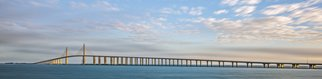 Jon Glaser: 'A Bridge Moves', 2015 Color Photograph, Landscape. Artist Description:  I took this photograph at sunrise in St. Petersburgh, Florida at the Skyway Bridge. The bridge connects St. Peterburgh to Tampa, Florida.This photograph measures approximately 10x40 and ready to hang. It comes mounted and varnished in a white wood frame. The varnish protects the print from pollutants ...