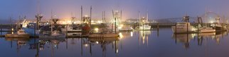 Jon Glaser: 'A Silent Morning', 2015 Color Photograph, Landscape. Artist Description:  This photograph was captured in Oregon along the coast. The harbor was just waking up and fishermen prepared their fishing boats for the day.This photograph measures approximately 10x40 and ready to hang. It comes mounted and varnished in a white wood frame. The varnish protects the print ...