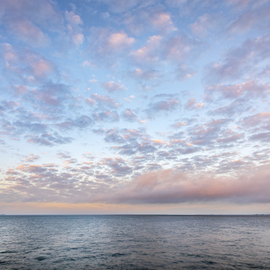 Jon Glaser: 'Cloud Collective', 2015 Color Photograph, Seascape. Artist Description:  Tampa Bay made for a perfect setting for this predawn sunriseThis limited- edition photograph, measuring approximately 23x46, is printed on fade- resistant Museo Silver Rag paper that has no optical brighteners. The image has been varnished with a protective coating that protects it from pollutants and sunlight.  ...