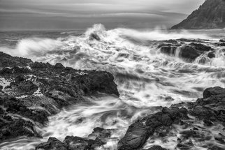 Jon Glaser: 'Cresting Wave', 2013 Black and White Photograph, Seascape. Artist Description:  I took this photograph at Cape Perpetua in Yachats, Oregon. Although quite perilous due to in- coming tide, my excitement took over any fear I had as the waves crashed along the shoreline.  limited to 9 artist proof editions in a particular size. They will be signed and ...