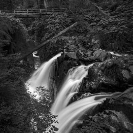 Jon Glaser: 'Dark Moments', 2015 Black and White Photograph, Landscape. Artist Description:  Near the center of the Park, Sol Duc Falls, is a little bit less than a mile walk in the Olympic National Park in the State of Washington.This limited- edition photograph, measuring approximately 40