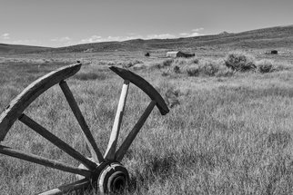 Jon Glaser: 'Discarded', 2012 Black and White Photograph, Landscape. Artist Description:  A wooden wheel discarded  in Bodie ghost town in California. The small town  was abandoned in the 1900' s.limited to 9 artist proof editions in a particular size. They will be signed and numbered on the back of the image.All images are available in the ...