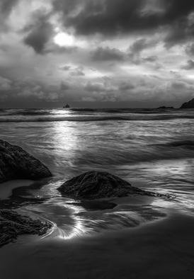 Jon Glaser: 'Distant Lighthouse', 2012 Black and White Photograph, Landscape. Artist Description:  This beach scene was photographed in Oregon....