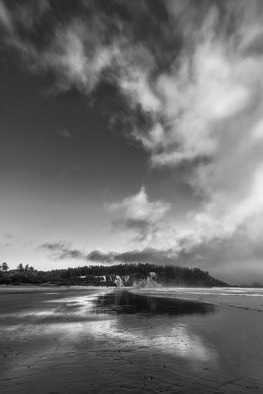 Jon Glaser: 'Down the Beach', 2014 Black and White Photograph, Landscape. Artist Description:    While in Olympic National Park, the lack of clouds at sunset created an interesting seascape. This beach was along the coast of Washington state.This image is available in the following sizes13x19 lustre photographic paper16x24 lustre photographic paper                             ...
