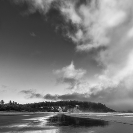 Jon Glaser Artwork Down the Beach, 2014 Black and White Photograph, Landscape