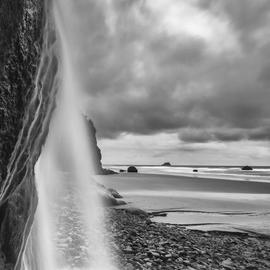 Jon Glaser: 'Falling into the Sea', 2012 Black and White Photograph, Landscape. Artist Description: I took this photograph in Oregon along the coastline  ...