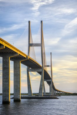 Jon Glaser Artwork Lanier Bridge at Sunset, 2016 Color Photograph, Architecture