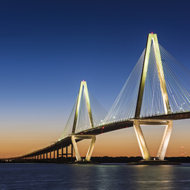 Jon Glaser: 'Ravenel Bridge at Twilight', 2016 Color Photograph, Architecture. Artist Description:  The Arthur Ravenel Jr. Bridge in Charelston was completed in 2005 and spans the Cooper River in South Carolina.This limited- edition photograph, measuring approximately 16