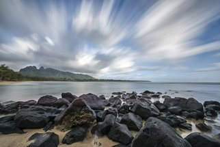 Jon Glaser: 'Skywalking', 2015 Color Photograph, Landscape. Artist Description:  This photograph was captured on the island of Maui, very close to the town of Hana. The beach and rocks provided the perfect condition in conjunction with the clouds. The photograph was 50 seconds long to create the movement in the clouds.This image is available in the ...