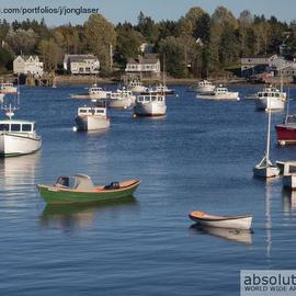 Jon Glaser: 'Sleeping Boats', 2012 Color Photograph, Landscape. Artist Description: The photograph was taken in Bar Harbor, Maine...