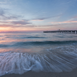 Jon Glaser: 'Start the Day', 2014 Color Photograph, Landscape. Artist Description:  Located in Lake Worth, Florida, this pier is a favorite spot for swimming and fishing.This image is available in the following sizes13x19 lustre photographic paper16x24 lustre photographic paper                     ...