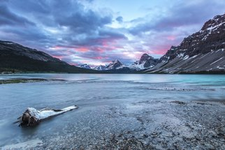 Jon Glaser: 'Sunrise Glow', 2013 Color Photograph, Landscape. Artist Description:  This Photograph was taken at about 6: 00 am at Bow Lake in Banff National Park. The water flowed slowly into the lake while the clouds burst in pink colors  limited to 9 artist proof editions in a particular size. They will be signed and numbered on the ...