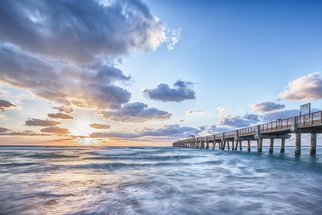 Jon Glaser: 'Sunshine at the Pier', 2014 Color Photograph, Landscape. Artist Description:   Located in Lake Worth, Florida, this  pier is a favorite spot for fishing.This image is available in the following sizes13x19 lustre photographic paper16x24 lustre photographic paper              ...