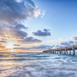 Jon Glaser Artwork Sunshine at the Pier, 2014 Color Photograph, Landscape
