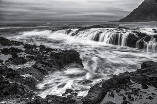 Jon Glaser: 'Tidal Flows', 2013 Black and White Photograph, Seascape. Artist Description:  I took this photograph at Cape Perpetua in Yachats, Oregon. Although quite perilous due to in- coming tide, my excitement took over any fear I had as the waves crashed along the shoreline.  limited to 9 artist proof editions in a particular size. They will be signed and ...