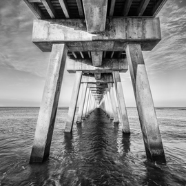Jon Glaser Artwork Venice Below the Pier II, 2014 Black and White Photograph, Landscape