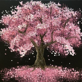 Olena Savynska: 'florescence', 2020 Oil Painting, Trees. Artist Description: Inspired by bright colors of spring.especially pink colors of the sakura. ...