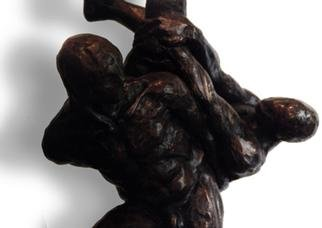 Jorge Llaca: 'Cuatro Hombres Clouse UP', 1999 Bronze Sculpture, Figurative.