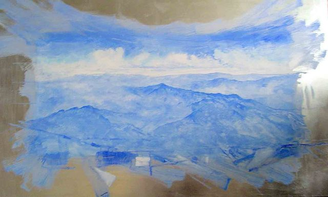 Jorge Espinosa  'Blue Landscape', created in 2006, Original Painting Encaustic.