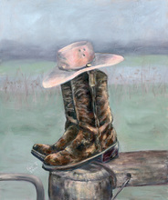 - artwork Boots_and_Hat-1272946500.jpg - 2010, Reproduction, Still Life