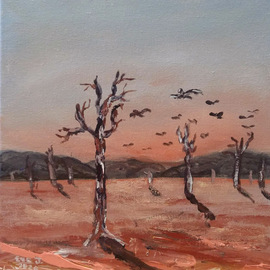 Eve Jorgensen: 'australian outback no 1', 2019 Acrylic Painting, Landscape. Artist Description: Inspired by the dusty red dirt of central australia. ...