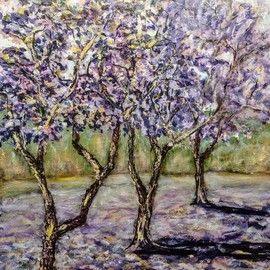Eve Jorgensen: 'jacaranda trees', 2021 Acrylic Painting, Trees. Artist Description: Blossoming colorful mauve and purple Jacaranda trees in landscapeAcrylic on canvas...
